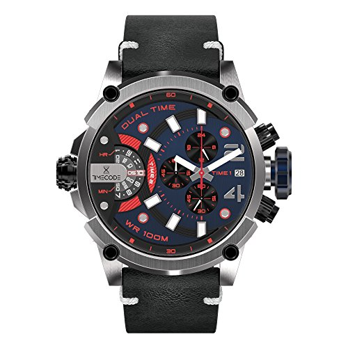 Timecode Marconi 1896 TC-1002-08 Black Stainless steel 50mm Men's Watch BLACK BLUE RED dial with WHITE accents on a BLACK Vintage genuine leather strap with Date, Dual time and Chronograph