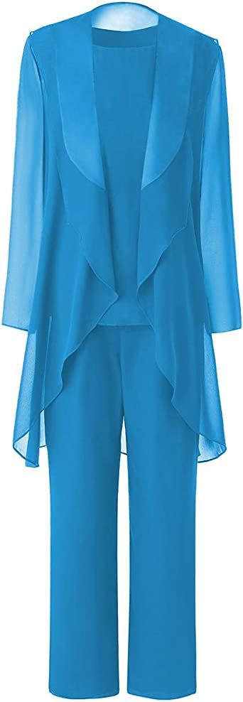 Amazon Com Zeattall Women S Plus Size Mother Of Bride Dresses With Jacket For Wedding Three Pieces Mother Of Bride Groom Pant Suits Clothing