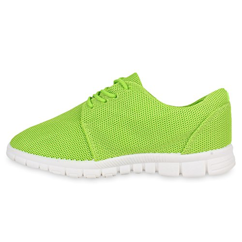 Stiefelparadies Damen Sportschuhe Muster Laufschuhe Runners Sneakers Schuhe Strass Metallic Flandell Hellgrün Berkley