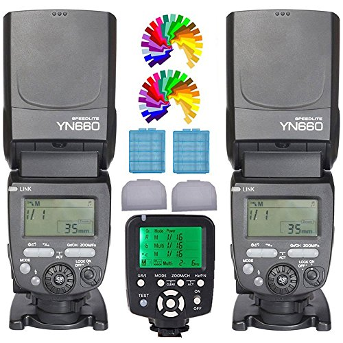 YONGNUO YN660 Flash Speedlight 2PCS +YN560TX Flash Trigger Remote Controller For Nikon DLSR Cameras(YN560IV Upgrade Version) by Yongnuo