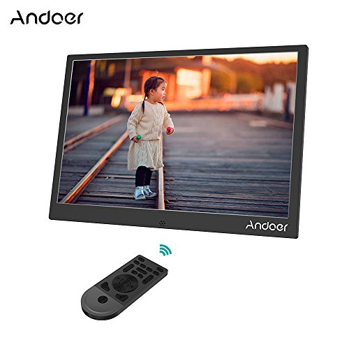 Andoer 13inch LED Digital Photo Frame 1280 800 Resolution Support 1080P Video Shuffle Play Aluminum Alloy with Remote Control Christmas Birthday Gift (Black) by Andoer