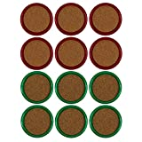 Gessner Thirsty Coasters With Cork Centers - Green And Red - 12 Coasters
