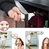 Iusun Baby Safety Locks, 4PCS Invisible Baby Safety Magnetic Cabinet Lock Child Proof Cupboards Drawers - Ship From USA (White)