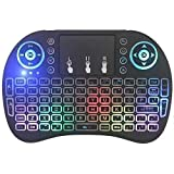 Mini Keyboard Touchpad Mouse Multi-Color Backlit Wireless 2.4Ghz and Multimedia Keys for Android TV Box and Games