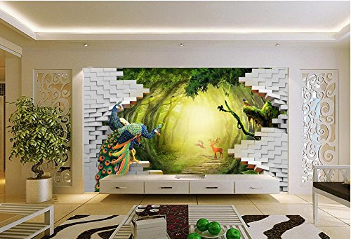 LWCX Luxury Wallpaper Custom 3D Mural Wallpaper Secret Garden Peacock Deer Tv Backdrop Wall Murals For Living Room 250X175CM by LWCX (Image #3)