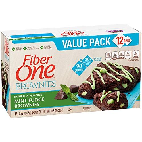 Fiber One 90 Calorie Fudge Brownies, Mint, 12 Count (Pack of 4)