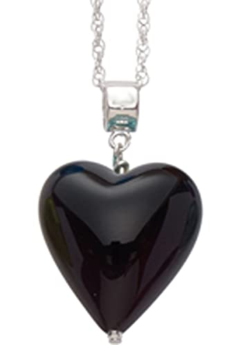 Genuine Murano 20mm Black Heart Pendant with Sterling Silver Chain of Length 45.0cm YL1XPXt