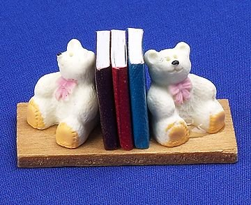 12th Scale Dolls House Nursery Accessory - Teddy Bookends Dolls House Parade S10787