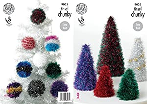 King Cole 9035 Knitting Pattern Tinsel Christmas Trees And