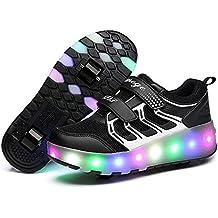 LED Light Up Single/Double Wheel Roller Skate Shoes for Boys Girls Kid