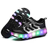 LED Light Up Single/Double Wheel Roller Skate Shoes for Boys Girls Kid(Black 2 wheel 38 M EU/5.5 M US Big Kid)