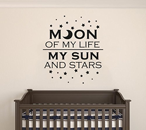 Moon Of My Life My Sun And Stars - Quote - Baby Boy/Girl - Nursery Wall Decal For Baby Room Decorations - Mural Wall Decal Sticker For Home Children's Bedroom (J187) (Wide 30