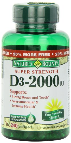 Bounty vitamine D-3 de la nature, 2000 UI gélules, 240-comte