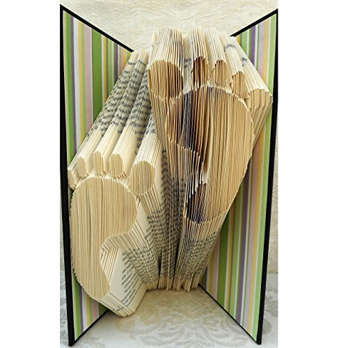 Hand Folded Book Art Sculpture, Baby Feet Footprints, Nursery Decor Baby Shower Gift for Mom to be ()