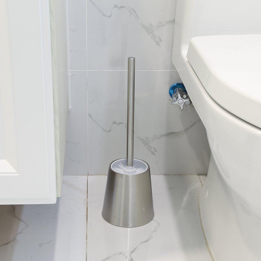 02-Tipo de Cintura Virklyee Escobillero de WC Elegante escobilla de ba/ño de Acero Inoxidable Escobillas y portaescobillas de Inodoro