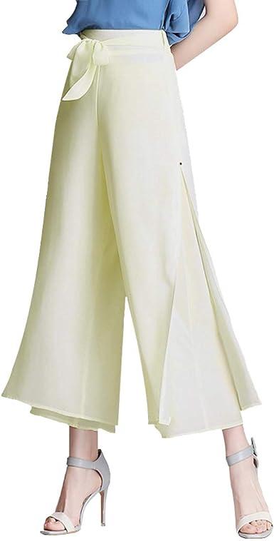 Women High Elastic Waist Pants Dress Culottes Wide Legs Palazzo Long Trousers US