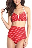 Dear-lover Women's Pin-up Vintage Polka Dot High-waisted Swimsuit