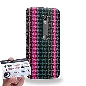 Case88 [Motorola Moto G (3rd gen)] 3D impresa Carcasa/Funda dura para & Tarjeta de garantía - Art Carpet And Tapestry Magenta And Black