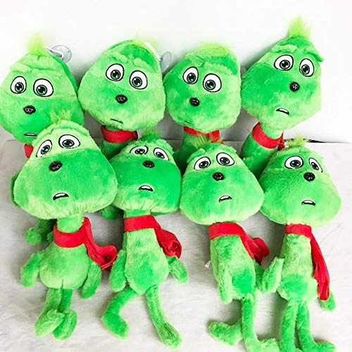 (PAPCOOL Set 10 Grinch Plush Toys 10 inch Hot Toy Cute Stuffed Stuff Doll Dog Christmas Halloween Birthday Valentine Collectable Gift The Movie Collectible Gifts Big Size Collectibles for Baby)