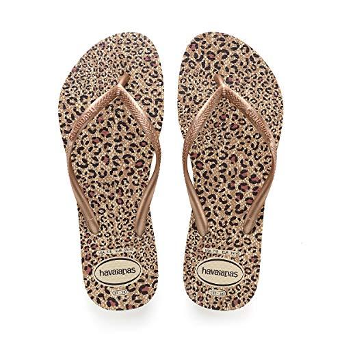 Havaianas Women's Slim Animals Flip Flop Sandal,Beige/Rose Gold/Rose Gold, 39/40 BR(9-10 M US Women's / 8 M US Men's)