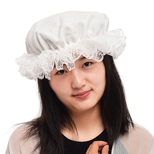 BLESSUME White Women's Mob Cap Colonial Mob Hat Costume Accessory -