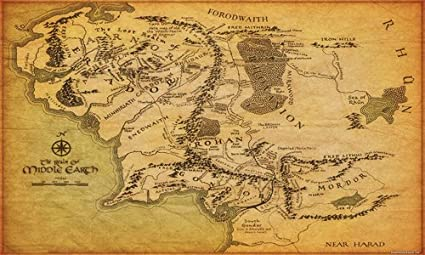 Map Middle Earth Amazon.: Tolkien Map Of Middle Earth Realm Lord Of The Rings