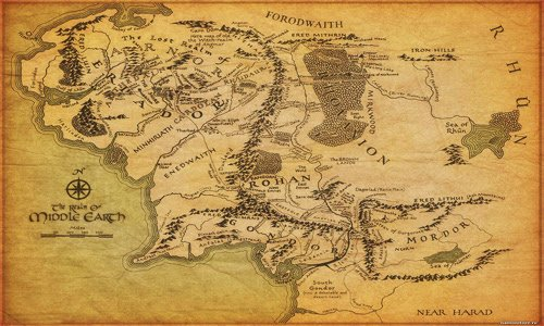 Amazon.: Tolkien Map of Middle Earth Realm Lord of The Rings