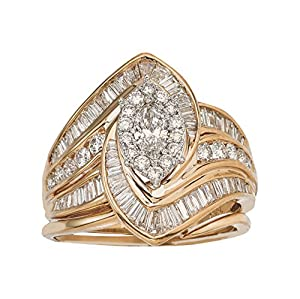 2ct Diamond Marquise Bridal Set in 14K Gold