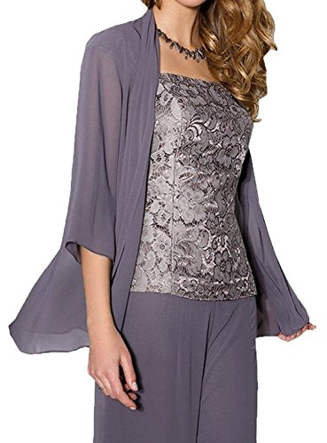 Mother Of The Bride Designer Suits - H.S.D 3 Pieces Mother of the Bride Pantsuits Dress with Chiffon Jacket Grey 26W