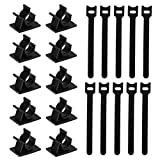 Kootek 60+30 Pcs Cable Management Kits, 60 Pcs Reusable Fastening Cable Ties, 30 Pcs Adhesive Cable Clips, Flexible Wire Organizer Cord Holder Wrap Straps Clamp for Office PC Computer Home TV Audio