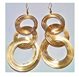 LiveSublime Coiled Wire Three Hoop Slinky Dangle Earrings (gold)