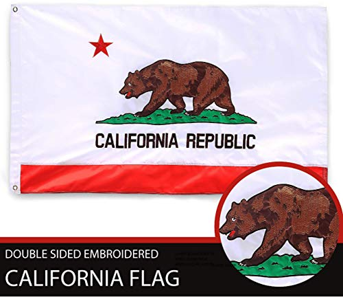 G128 - California State Flag | 2x3 feet | Double Sided Embroidered 210D - Indoor/Outdoor, Brass Grommets, Heavy Duty Polyester, ()