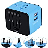Dewenwils Universal Travel Adapter Kit with 2.4A Dual USB Charger, Worldwide AC Power Plug Adapter for Europe UK US AU with Zipper Case