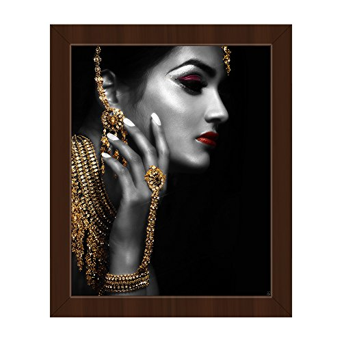 Golden Woman - Red Lips: Image of Indian Woman with Maang Tikka Head Chain Earrings Necklace Slave Bracelet Jewelry Wall Art Print on Canvas with Espresso (Slave Earring)