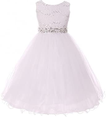 Amazon dreamer p sleeveless sequins rhinestones tulle pageant little girls sleeveless sequins rhinestones tulle pageant flower girl dress white 4 m3b4k0 mightylinksfo