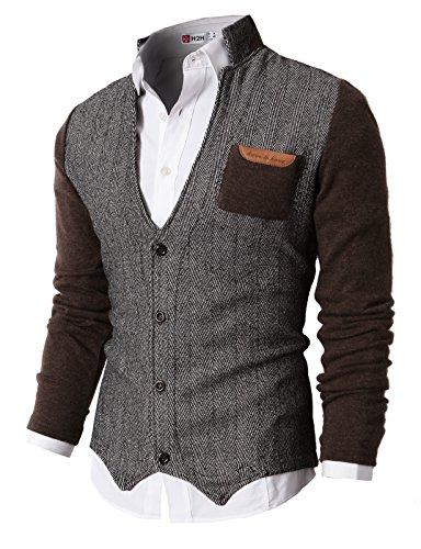 H2H Mens Herringbone Cardigan Sweater of Knitted Sleeves Brown US XL/Asia XXL ()