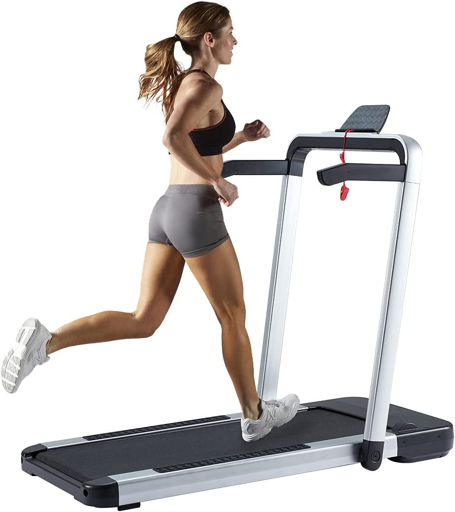 YOLENY Treadmill with App to Record Data, Run,Walk Folding Home Treadmill, 2.25HP Electric Treadmill with Remote Control, Two LCD Monitor