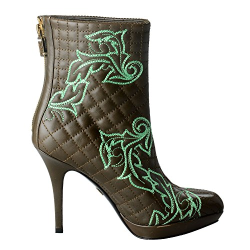 Leather IT US 38 7 5 5 Versace Women's High Boots Green Quilted Heel Olive Shoes qC7SCzwWvI
