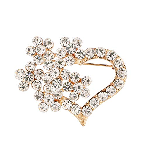 JewelryPal Vintage Synthetic Crystal Rhinestone Flower Love Heart Brooch Pin for Women Ladies Dresses Party