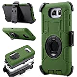 Note 5 Case, Galaxy Note 5 Holster case, Jwest Hybrid Dual Layer Combo Armor Defender Protective Case With Kickstand + Belt Clip Holster For Samsung Galaxy Note 5 Navy Green/Black