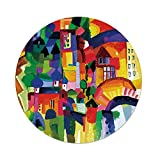 iPrint Polyester Round Tablecloth,Art,Modern Vivid Abstract Architectural Buildings Urban Apartment Houses Village Landmark,Multicolor,Dining Room Kitchen Picnic Table Cloth Cover,for Outdoor Indoor