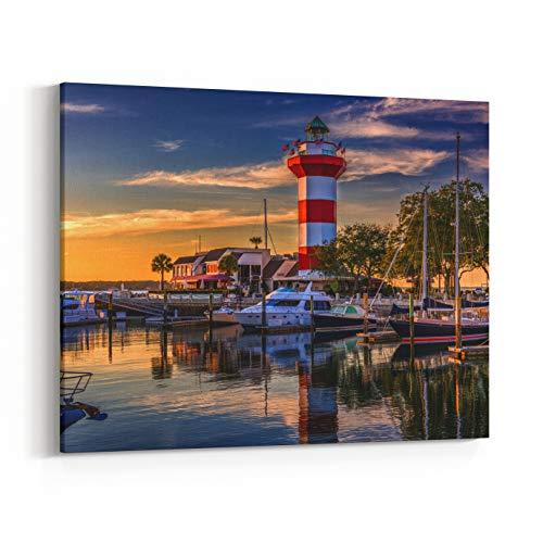 Rosenberry Rooms Canvas Wall Art Prints - Hilton Head, South Carolina, Lighthouse at Dusk (40 x 30 inches)