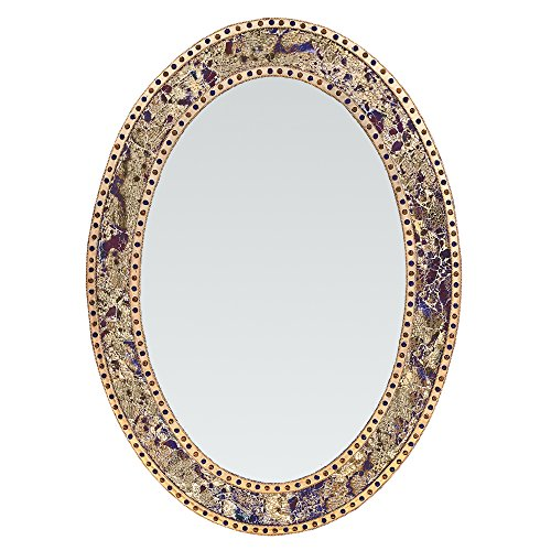 - DecorShore 32.5 in. x 24.5 in. Decorative Wall Mirror, Oval Frame, Colorful Crackled Glass Mosaic Decorative Wall Mirror, Vanity Mirror, Powder Room Mirror in Jewel Tone Colors (Fired Gold)