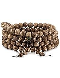 MOWOM Grey 8mm Wood Bracelet Link Necklace Chain Tibetan Buddhist Bead Prayer Buddha Mala Elastic