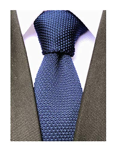 - Men's Eggplant Solid Navy Blue Stylish Tie Skinny Boys Novelty Neckties Pattern Waffle Knit Woven Square End Neck Tie