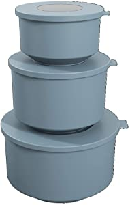 Coza- Hoop Collection- Leak Proof Food Container with Air Tight Lids Set of 3 (6 Pieces Total)- BPA Free & Microwave Safe (Blue Fog)