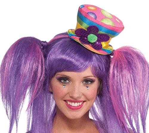Circus Sweetie Mini Top Hat (Circus Sweetie Mini Top Hat Pompom Clown Women's Costume Accessory Polka Dots)
