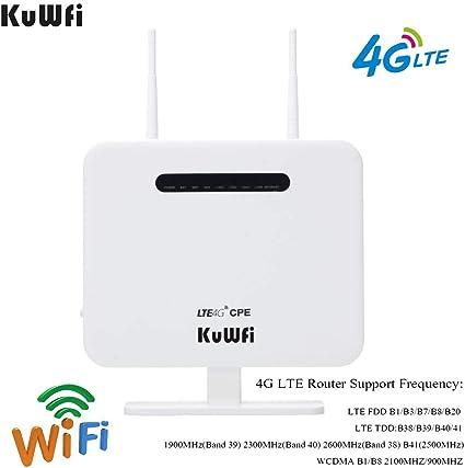 KuWFi Routeur 4G LTE Wi FI, 300Mbps Débloqué routeur 4G sim Mobile Modem 3G 4G AP WiFi Routeur WiFi Hotspot avec Carte SIM Prise de Soutien Travailler