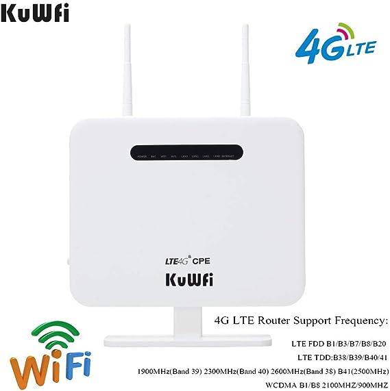 KuWFi Router inalámbrico, 300Mbps Desbloqueado 4G LTE WiFi Mobile Modem 3G 4G Ap WiFi Router WFi Hotspot con Tarjeta SIM Solt Support Trabajar con Movistar/Orange/Yoigo/Vodafone Tarjeta SIM: Amazon.es: Electrónica