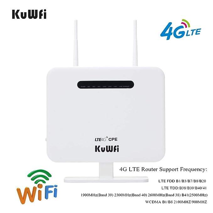 KuWFi Router inalámbrico, 300Mbps Desbloqueado 4G LTE WiFi Mobile ...